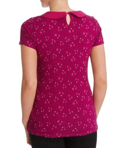 Dunnes Magenta Pink Floral Peter Pan Collar Short Sleeve Top Size 12 - 16 - YourMO