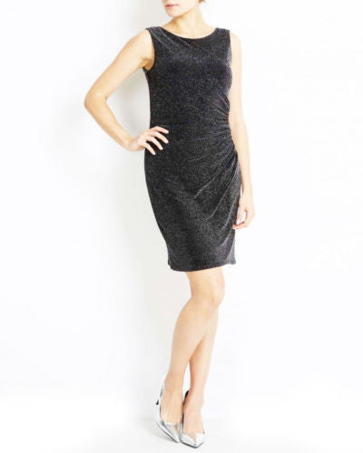 Wallis Black Silver Sparkly Ruched Bodycon Party Dress Size 8 - 18