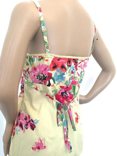 Per Una Yellow Pink Red Floral Lace Tie Back Cami Top Size 8 - 12