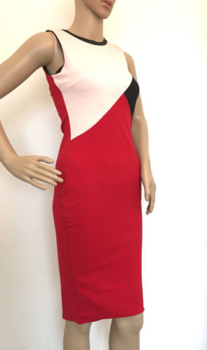 River Island Red Black Pink Colour Block Bodycon Wiggle Dress 8 - 18