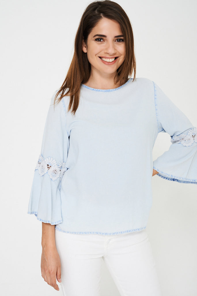 Blue Top With Fluted Lace Sleeve Ex Brand