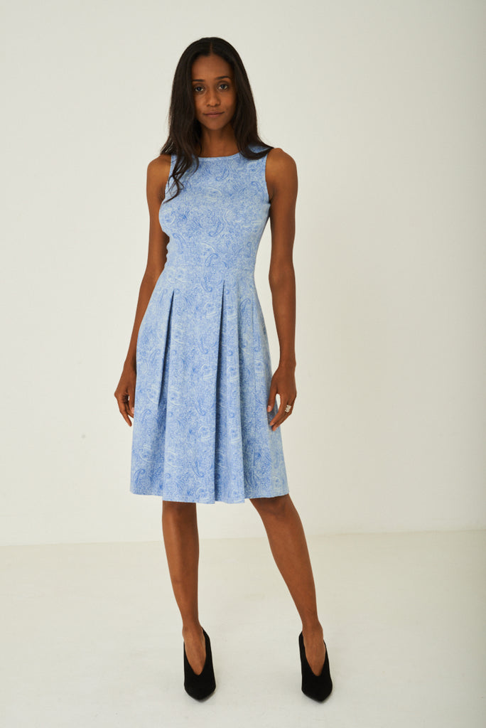 Blue Paisley Skater Dress With Pleat Detail