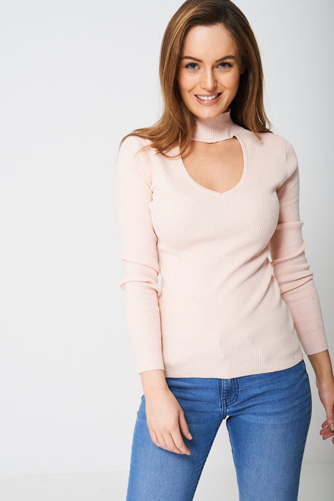 Pink Choker Neck Jersey Ex-branded