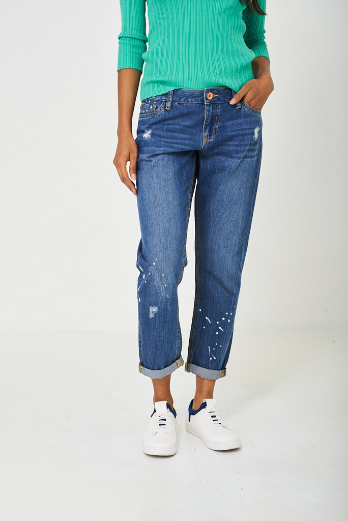 Distressed Boyfriend Jean In Blue