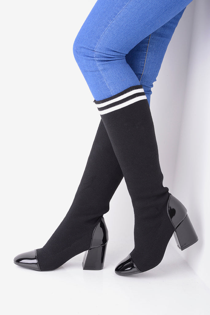 black stretch sock boots