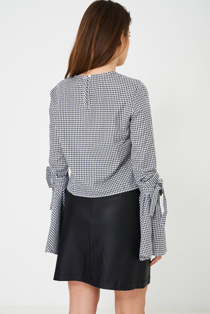Checked Top With Embroidery Detail