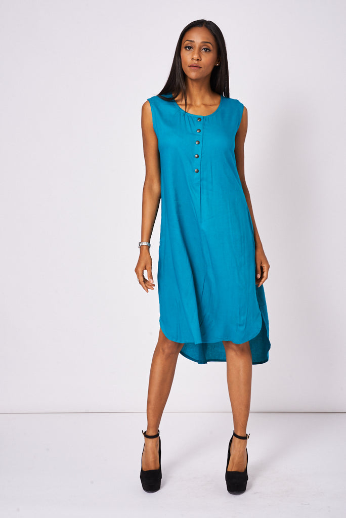 teal sleeveless shift dress