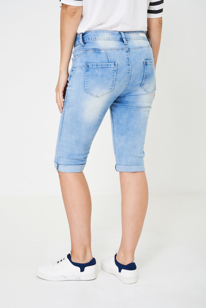Blue Crop Denim Shorts-blue-4
