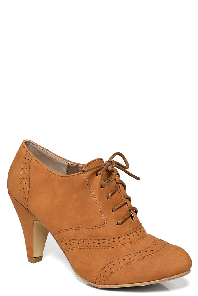 Brogue Lace Up Ankle Boot In Camel
