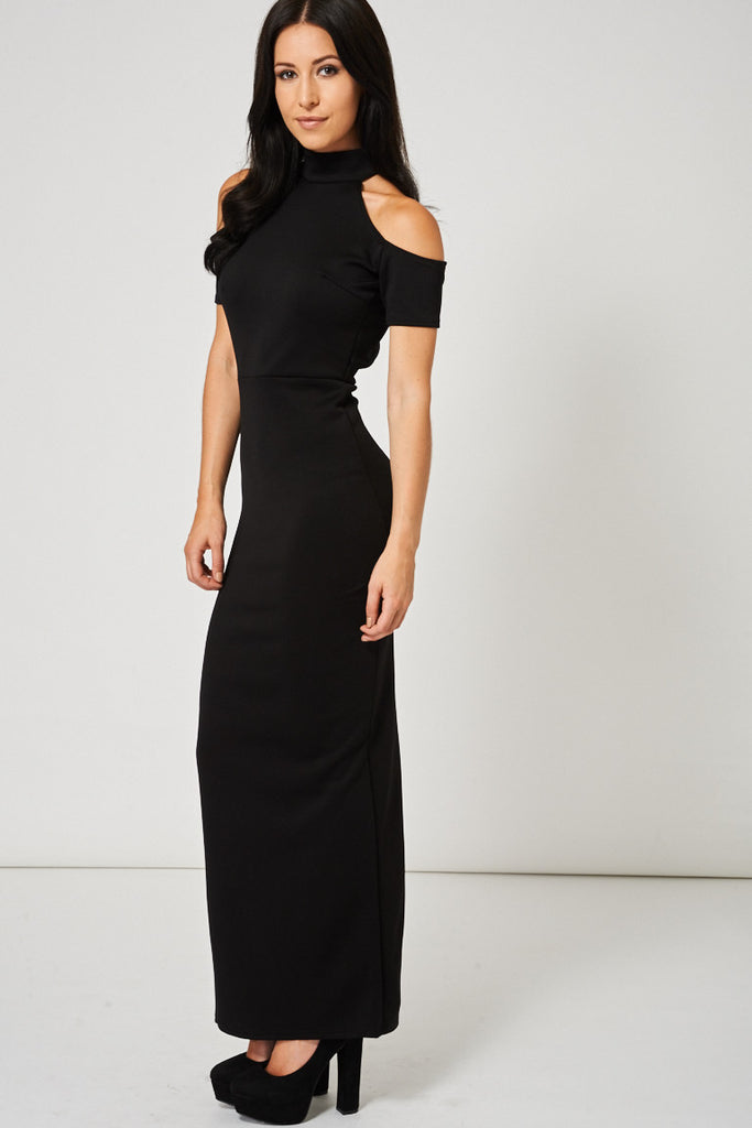 black maxi bodycon dress
