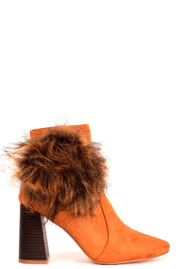 Camel Faux Suede Ankle Boots With Pom Pom Detail