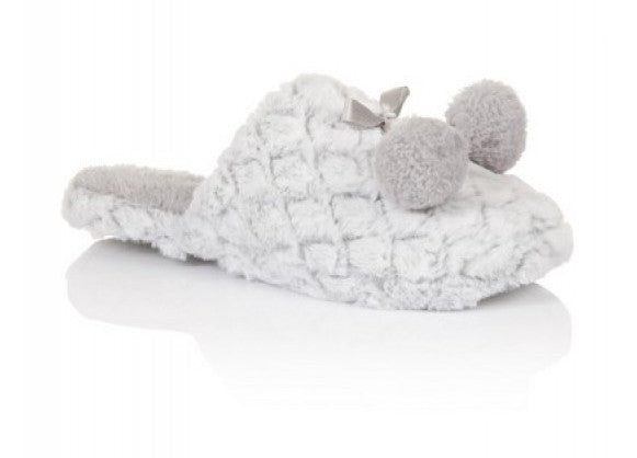 Diamond Furry Slippers with Pom Poms in Silver or Cream Sizes 3-8