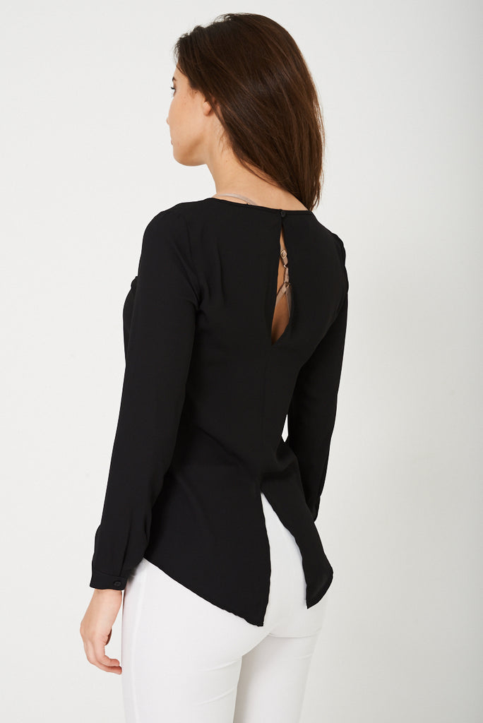Cut Out Back Blouse In Black Ex Branded