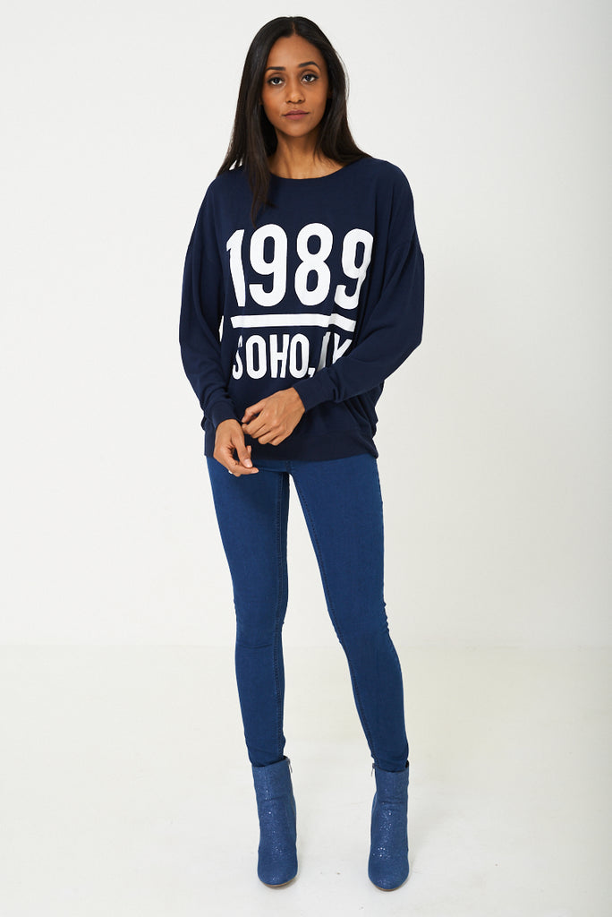 Bik Bok Slogan 1989 Jumper In Navy