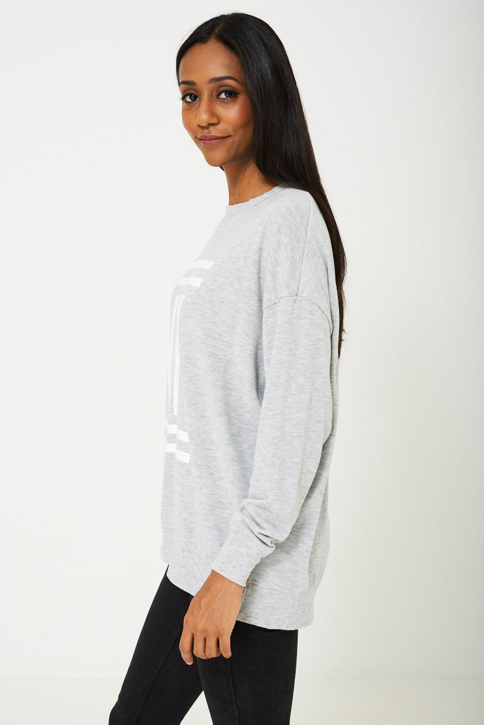 Bik Bok Slogan Ny Jumper In Grey
