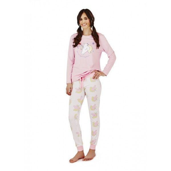 Pink and White Jersey Unicorn Pyjama Set Sizes 8 - 18