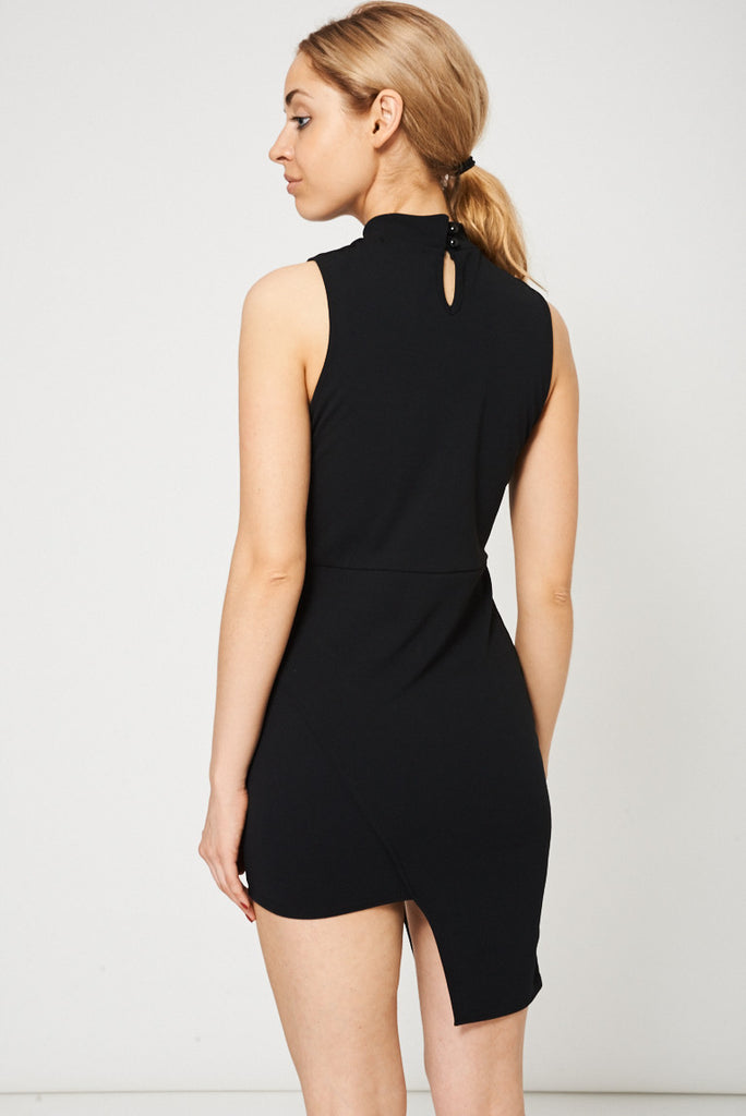 choker neck black dress