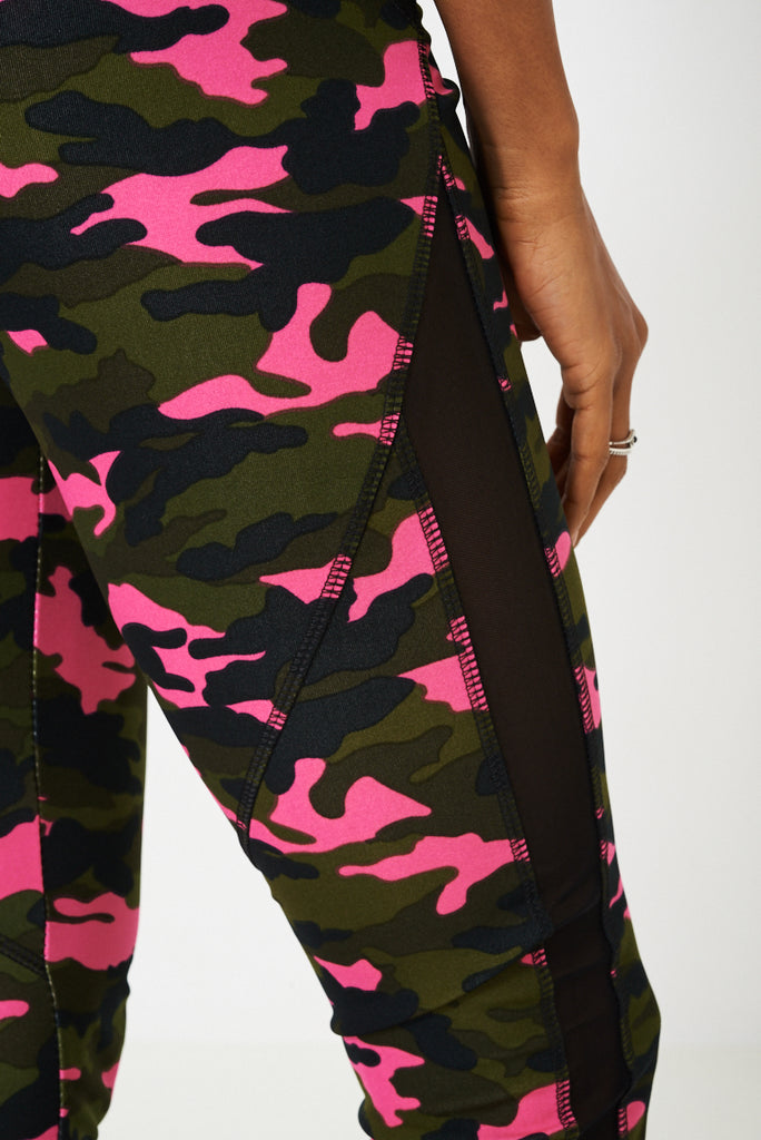 Camo Print Sports Tank Top And Leggings Set-purple-s/m - Uk (8-10)