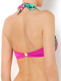 Biba Venus Pink Botanical Pleated Halterneck Bikini Top Size 8 - 16 - YourMO