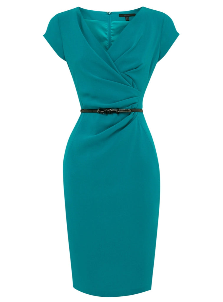 Coast Blue Green Lois Crepe Belted Pencil Dress Size 8 - YourMO