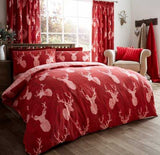 Luxury Stag Duvet Cover with Matching Pillowcase Single Double or King - Red