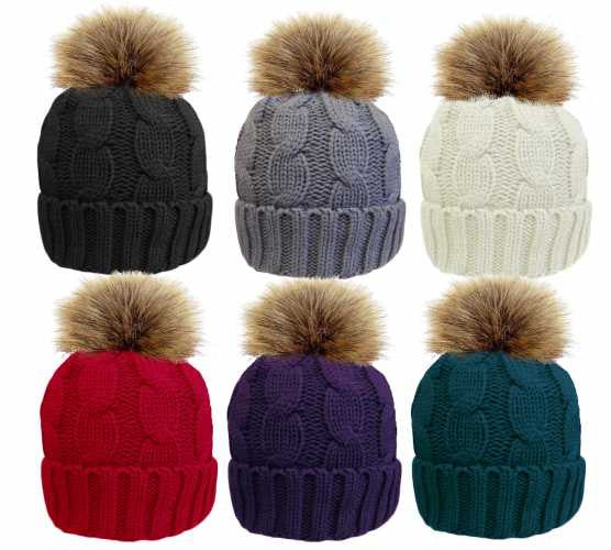 076215b93d3 Cable Knit Ski Hat with Large Detachable Pom Pom Sherpa Fleece Lined in 6  Colours ...