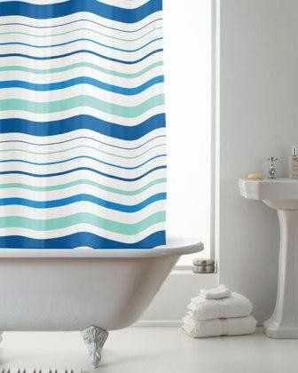 Blue Monochrome Stripe PEVA Shower Curtain 12 Hooks 180cm x 180cm