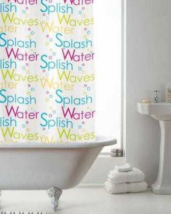 Bright Splash PEVA Shower Curtain 12 Hooks 180cm x 180cm