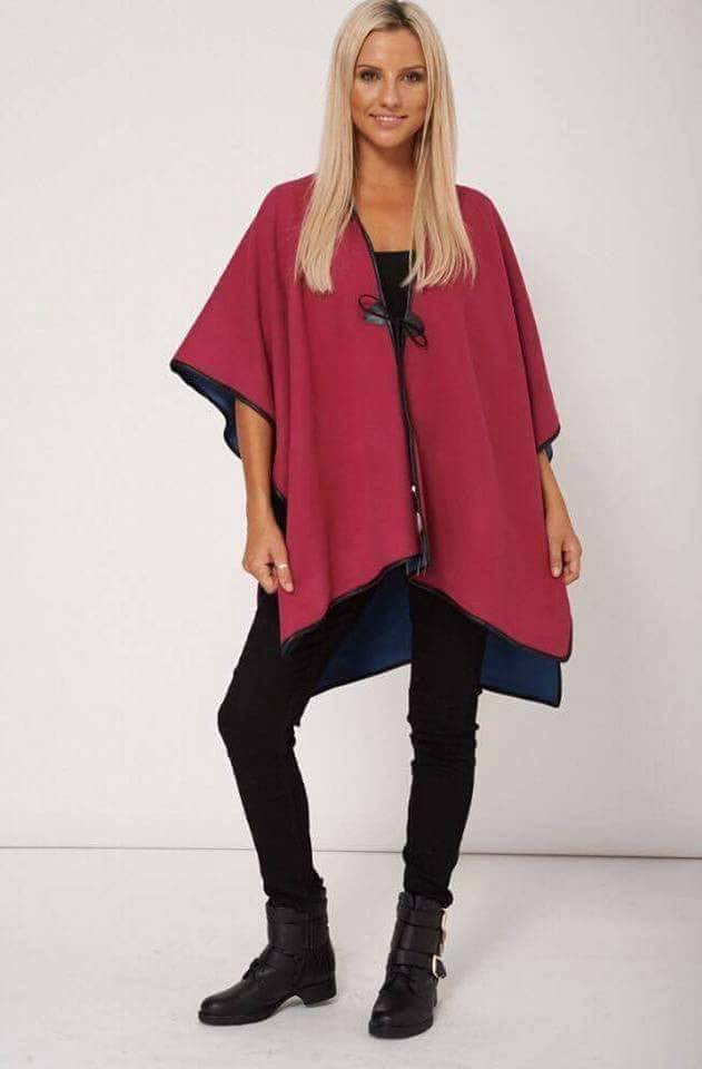 Raspberry Pink Soft Touch Reversible Poncho One Size