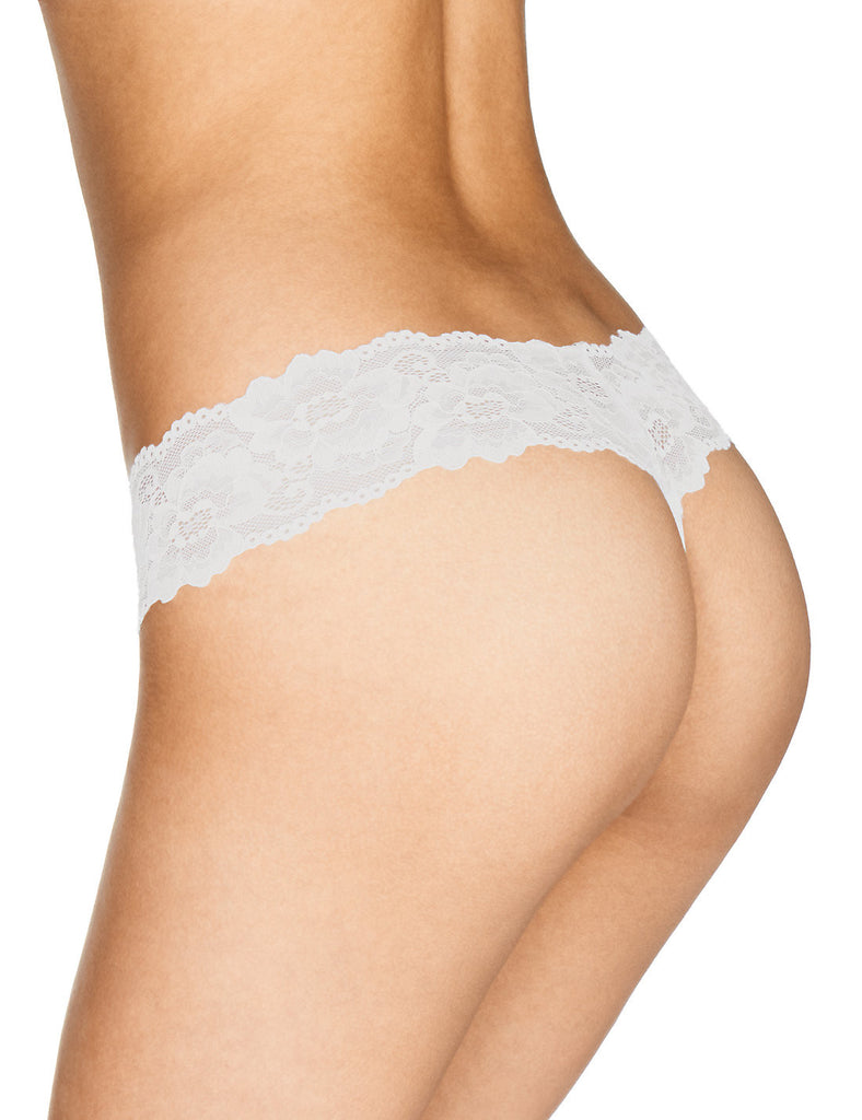 M&S Marks and Spender White Lace Low Rise Bandeau Thong Size 10-16