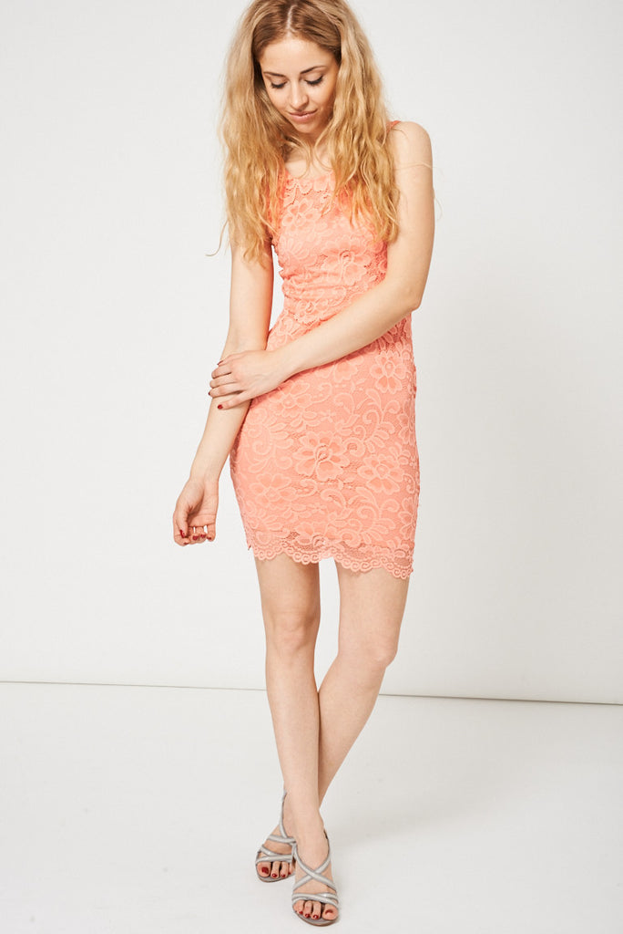 Coral Open Back Lace Dress Ex-branded