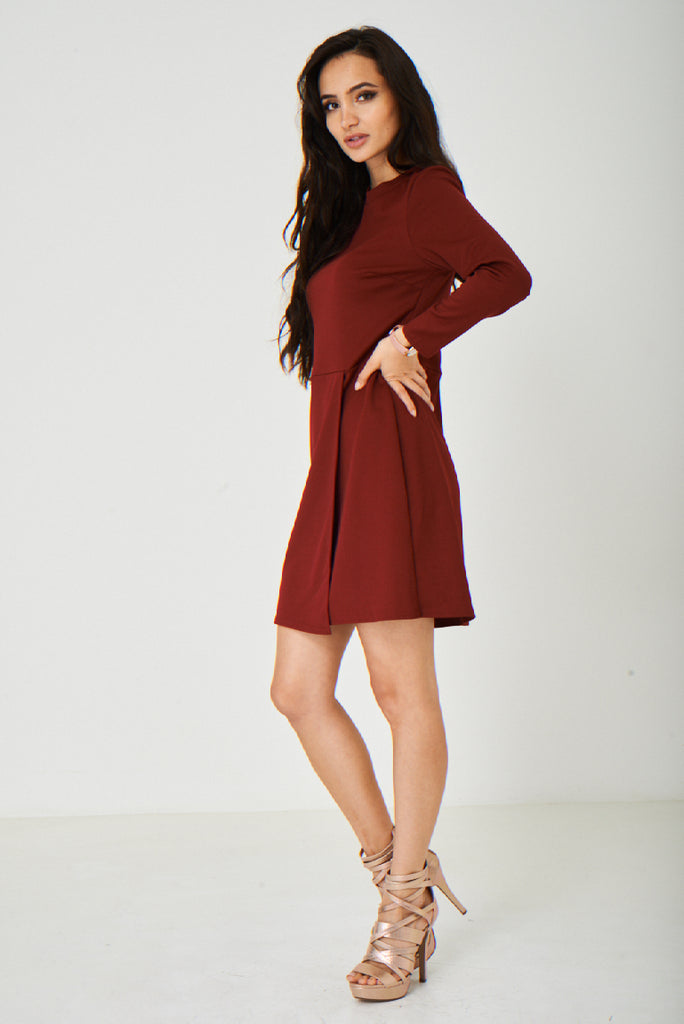 Burgundy Wrap Front Dress Ex Brand