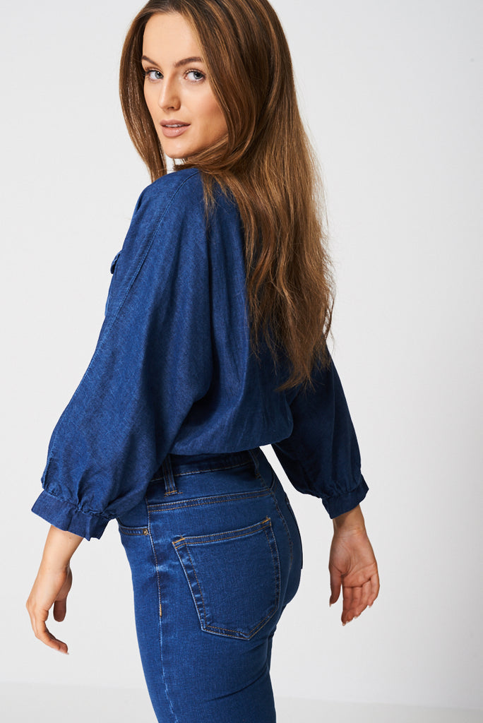 Blue Balloon Sleeve Crop Top