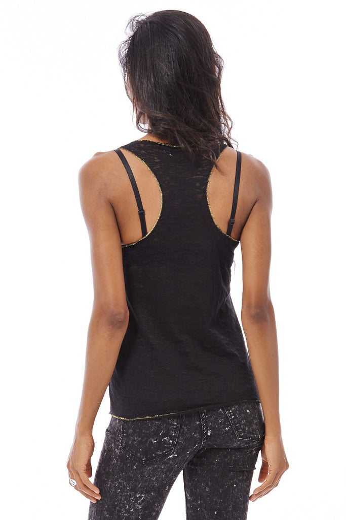 Burnout Racerback Tank Top With Love And Peace Print