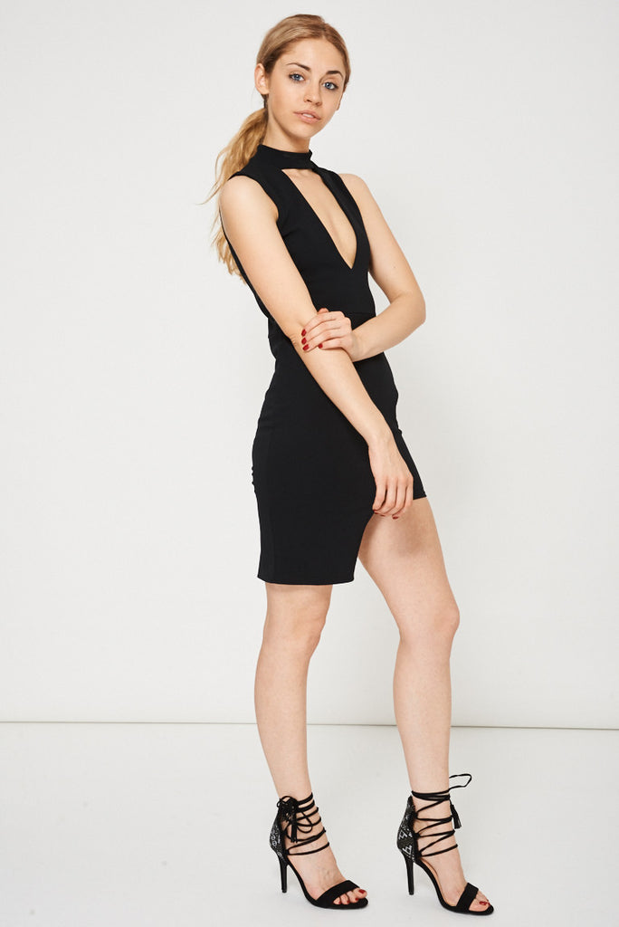 asymmetric black dress