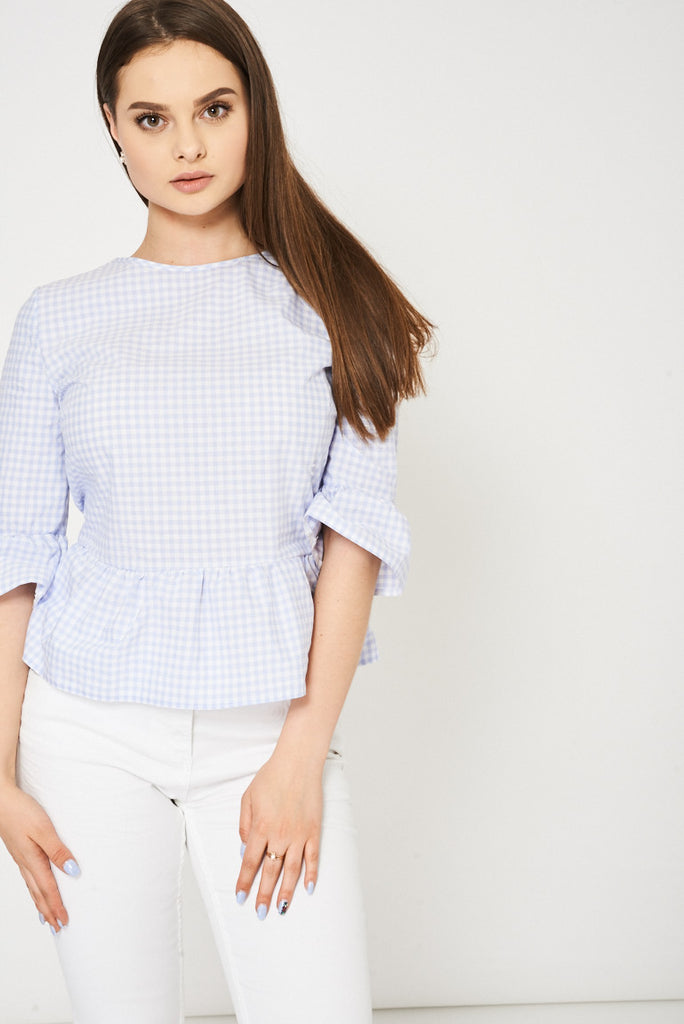 blue check top womens