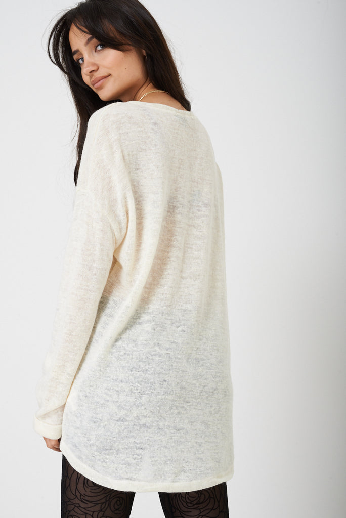 Bik Bok Drop Shoulder Jumper In Cream