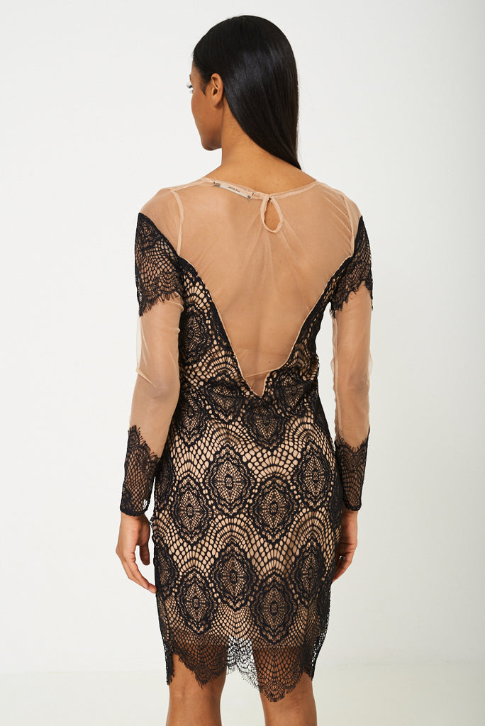 Bik Bok Mesh Dress In Black Lace