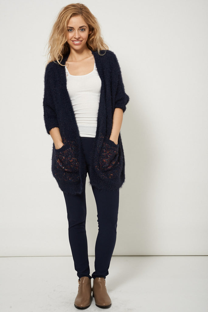 blue open front cardigan