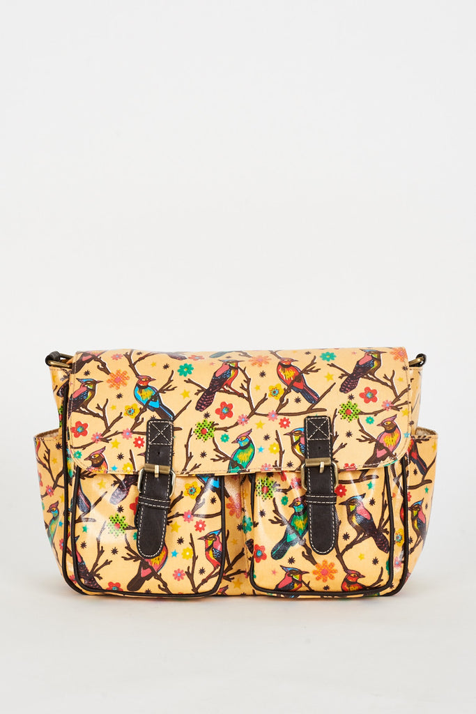 bird print satchel