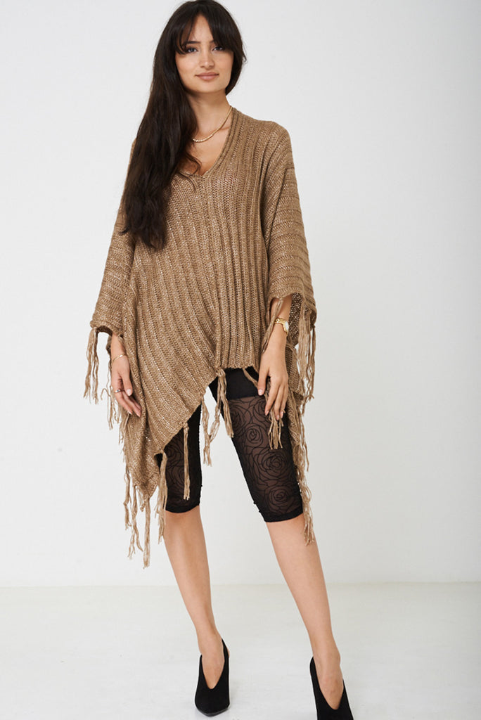 Brown Poncho With Metallic Insert