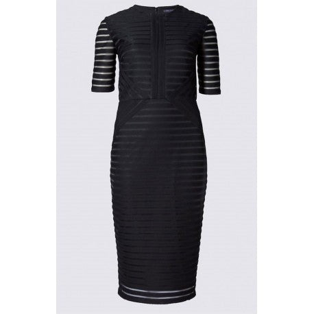 Marks and Spencer Black Ribbed Mesh Bodycon Dress Sizes 8 - 18