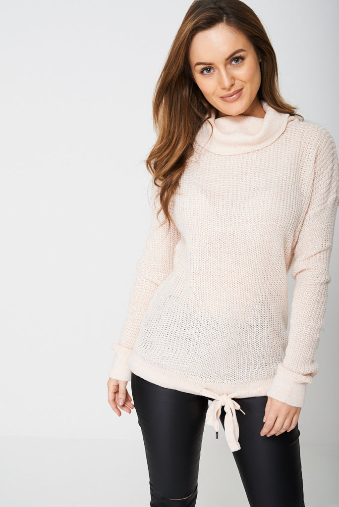 Cowl Neck Jumper With Tie Hem in Pink