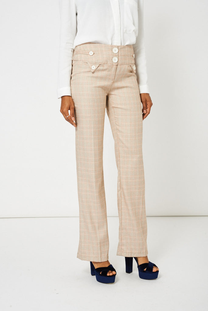 ladies linen straight leg trousers
