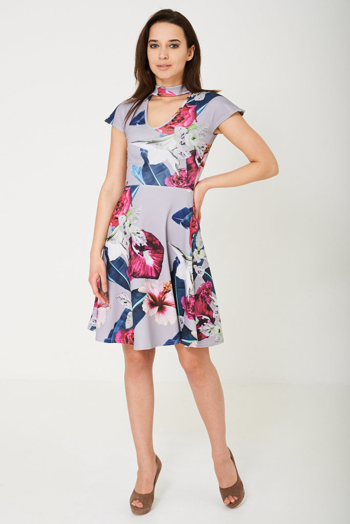Choker Neck Skater Dress in Floral Print