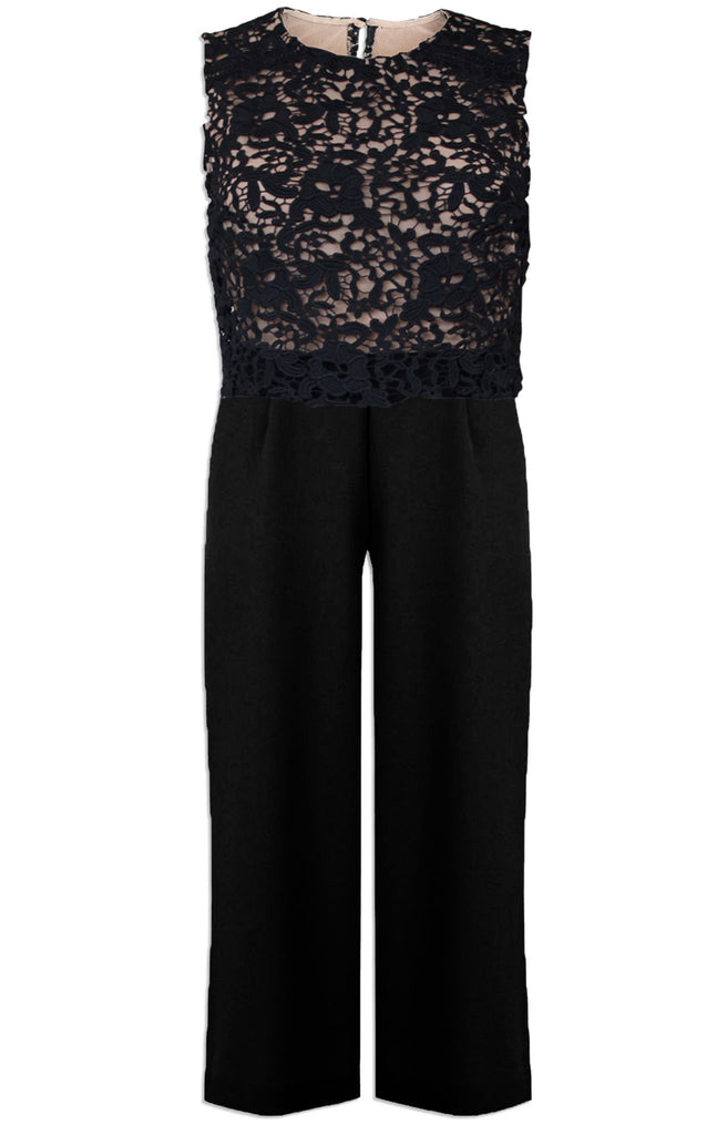 Warehouse Black Midi Jumpsuit with Overlay Lace Sizes 6 - 16