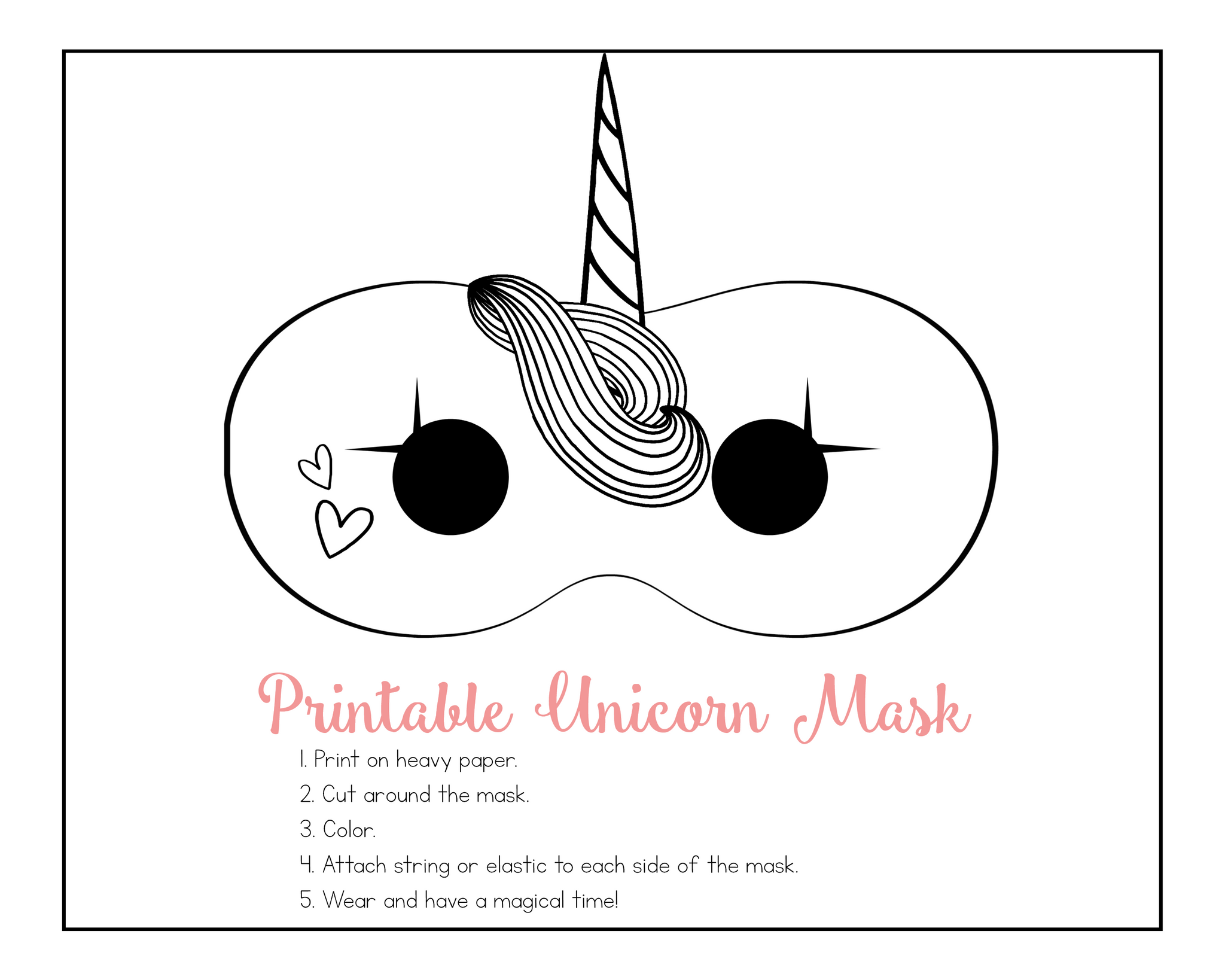 picture about Printable Unicorn Mask referred to as Unicorn Engage in Day and Birthday Celebration Printable Pack Pint