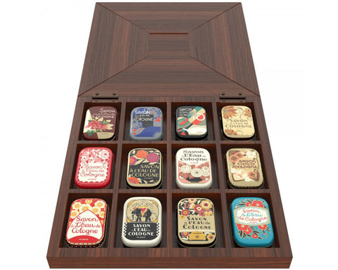La Societe Parisienne de Savons Wood Gift Box of Soap Tins (12pc or 14pc) - 20gr / .71oz each