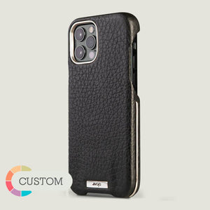 Customizable Silver Grip iPhone 12 & 12 Pro Leather Case - Vaja