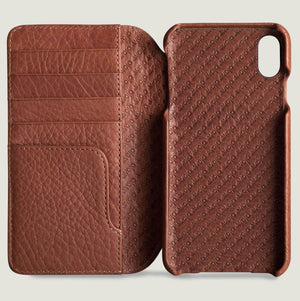 Wallet Wood iPhone Xs Max Leather Case - Vajacases